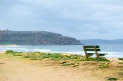 Gräsplan parkerar bänken nära havet, på Palm Beach, nordliga Sydney, Australien med det Barrenjoey nationalparkberget Fotografering för Bildbyråer