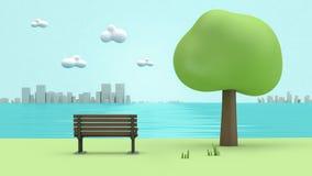 Gräsplan parkerar flodsidostol, träd, stadstecknad filmstil låg poly 3d för att framföra royaltyfri illustrationer