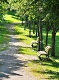 Gräsplan parkerar vägen royaltyfria foton