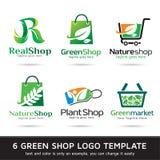 Gräsplan shoppar Logo Template Design Vector Royaltyfri Illustrationer