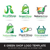 Gräsplan shoppar Logo Template Design Vector Royaltyfria Bilder