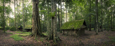 Gräsplan som förlägga i barack i skog royaltyfri foto