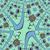 Gräsplan vänder mot - rolig tecknad filmbakgrund royaltyfri illustrationer