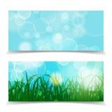 Gräsplanbakgrund för den naturliga våren med grönt gräs och bokeh tänder Fotografering för Bildbyråer