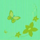 Gräsplanblommor och fjärilar på grön bakgrund Stock Illustrationer