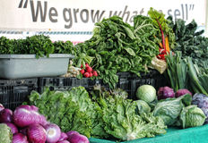 Gräsplaner och lökar som är till salu på en bondes marknad Royaltyfri Foto