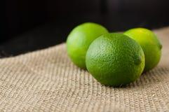 Gräsplanlimefrukter på en jutetabelltorkduk Royaltyfri Fotografi