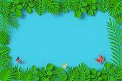 Gräsplansidor inramas på blå bakgrund, fjärilspappersflugan, tolkningen 3d, med den snabba banan royaltyfri illustrationer
