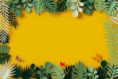 Gräsplansidor inramas på gul bakgrund, fjärilspappersflugan, tolkningen 3d, med den snabba banan vektor illustrationer