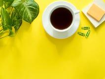 Gräsplansidor planterar kaffekoppen på det gula skrivbordet, den lekmanna- lägenheten, kopieringsutrymme Royaltyfri Bild