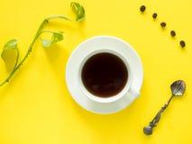 Gräsplansidor planterar kaffekoppen på det gula skrivbordet, den lekmanna- lägenheten, kopieringsutrymme Arkivfoton
