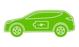 Gräsplansymbol för hybrid- bil Elkraft driven miljö- medelsidosikt Konturbil med batteritecknet royaltyfri illustrationer