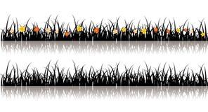 grässilhouettevektor Arkivfoton
