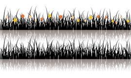grässilhouettevektor Royaltyfria Bilder