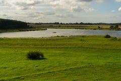 Grässlätt framme av Eixen sjön royaltyfri fotografi