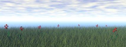Grässlätt med blommor - 3D framför royaltyfri illustrationer