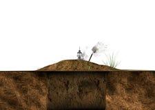 Gräva jord som malas på den vita illustrationen Royaltyfria Bilder
