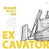 Grävskopa - guling- och apelsintypografiuppsättning av medel för jordningsarbetsmaskiner Arkivfoton