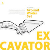 Grävskopa - guling- och apelsintypografiuppsättning av medel för jordningsarbetsmaskiner på vit Arkivbilder