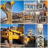 Grävskopa på bild för collage för konstruktionsplats royaltyfri fotografi