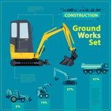 Grävskopa på konstruktionslokalen Den blåa infographic uppsättningen, jordningsarbetsblått bearbetar med maskin medel Arkivfoto