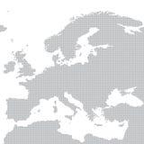 Grå översikt av Europa i pricken också vektor för coreldrawillustration Arkivbilder