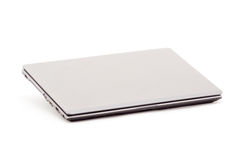 grå bärbar datorwhite för bakgrund Fotografering för Bildbyråer