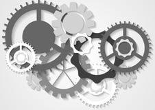 Grå bakgrund för mekanism för techvektorkugghjul vektor illustrationer