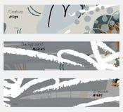 Grå baneruppsättning för ungefärligt utdragna blom- beståndsdelar stock illustrationer