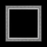 Grå bildram som isoleras på svart bakgrund Royaltyfri Foto