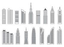 Grå färg- eller svartformer av skyskrapor på vit bakgrund Fotografering för Bildbyråer