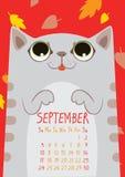 Grå färger gjorde randig den gulliga katten under fallande sidor September kalender stock illustrationer