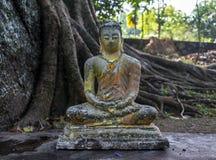 Grå färger knäckte den forntida lilla statyn av Buddha royaltyfria bilder