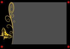 Grå färger kopierar utrymme och en enkel guld- fjäril Arkivbilder