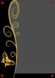 Grå färger kopierar utrymme, två guld- fjärilar och några stjärnor Arkivfoton