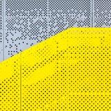 Grå färger och gul perforerad industriell metallbakgrund royaltyfri bild