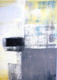 Grå färger och guling abstrakta Art Painting royaltyfria bilder