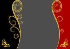 Grå färgkopieringsutrymme - två guld- fjärilar Arkivfoton