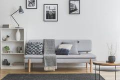 Grå färglampa på den vita bokhyllan med vaser och böcker bredvid elegant soffa arkivbild