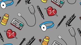 Grå färgrik sömlös modell för medicinsk personal tillbaka royaltyfri illustrationer