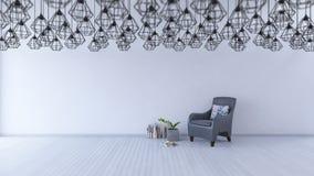 grå färgsoffa för tolkning 3ds på trägolv stock illustrationer