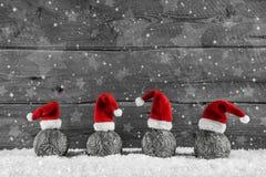 Grå festlig träjulbakgrund med fyra santa hattar på royaltyfri fotografi