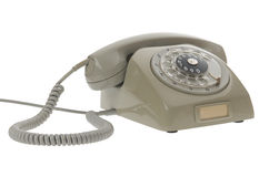 grå gammal roterande stiltelefontappning Arkivbild