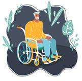 Grå haired man för fläder i rullstol stock illustrationer
