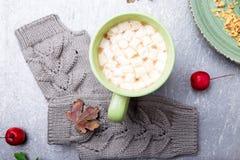 Grå handarbetehandskar, kaka och kopp kaffe med marshmallowen på grå bakgrund Top beskådar kopiera avstånd Handarbetegarn Royaltyfria Foton