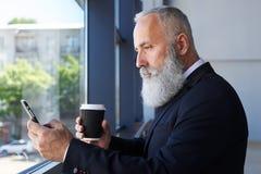 Grå herrenålder av hållande kopp kaffe 50-60 och att surfa i telefon Fotografering för Bildbyråer