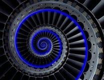 Grå industriell modell för bakgrund för blad för lufthantverkturbin spiral med den blåa neonglödspolen Metallturbinen påskyndar u fotografering för bildbyråer