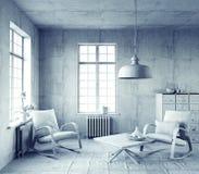 grå interior Royaltyfri Fotografi