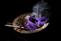 grå isolerad maskering för karneval Royaltyfri Fotografi
