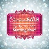 Grå jul bakgrund och etikett med försäljning erbjuder Fotografering för Bildbyråer